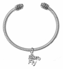 "w1907b22<br>""I Love To Fly"" Crystal Heart Charm On<br>Adjustable Cable Silvertone Charm Bracelet<br> with Genuine Clear Crystal Ends<br> Nickel, Lead, And Cadmium Free"