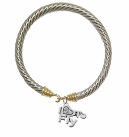 "w1907b24<br>""I Love To Fly"" Crystal Heart Charm on<br>Genuine Cable Gold / Silvertone Charm <br> Bracelet - Nickel, Lead, And Cadmium Free"