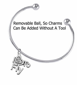 "w1907b8<br>""I Love To Fly"" Crystal  Heart Charm on<br>Adjustable, Wire Charm Bracelet with Removable<br> Balls End, Add Charms Without Tools"