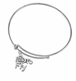w1907b9<br>I Love To Fly Crystal Heart Charm On<br> Adjustable Miracle Wire Charm Bracelet<br> Nickel, Lead, And Cadmium Free