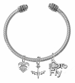 "w1908-1909-1907b22<br>""Flight Attendant"", Jet Plane & "" I Love To Fly "" <br> Crystal and Silvertone Charms on Adjustable <br>Genuine Cable Charm Bracelet With Crystal Ends"