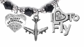 "W1908-1909-1907B25 <br>Airline Flight Attendant, "" I Love To Fly "",<br> Hypoallergenic Black Crystal Charm Bracelet,<br> Nickel, Lead, And Cadmium Free"