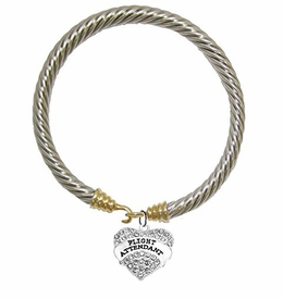 "W1908B24<br>Airline ""Flight Attendant"" Crystal Heart Charm On<br>Genuine Cable Gold / Silvertone Charm Bracelet<br> Nickel, Lead, And Cadmium Free"