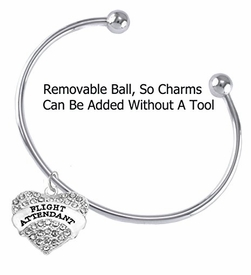 w1908b8<br>Flight Attendant Crystal Heart Charm On<br> Adjustable Thick Wire Charm Bracelet With<br> Removable Ball. Add Charms Without Tools,