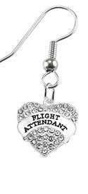 "w1908e1<br>""Flight Attendant"" Crystal Heart Charm On<br> Hypoallergenic Stainless Steel Fishhook Earrings<br> Nickel, Lead, And Cadmium Free"