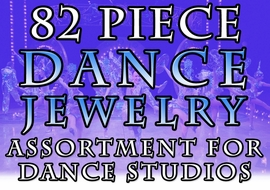 <br>    W20057JA - 82 PIECE DANCE JEWELRY <BR> ASSORTMENT INCLUDES TAP, BALLET, JAZZ <BR> ACRO, DRILL, MODERN AND RIBBON DANCE <BR>      DANCE STUDIOS AND RETAIL STORES <BR>            YOUR LOW PRICE IS $504.34