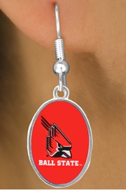 "<Br>         LEAD & NICKEL FREE!!<Br>       OFFICIALLY LICENSED!!! <bR>W20680E - BALL STATE UNIVERSITY <BR>""CARDINALS"" OVAL FISHHOOK EARRINGS <BR>         FROM $3.94 TO $8.75"