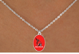 "<Br>                  LEAD & NICKEL FREE!!<Br>                OFFICIALLY LICENSED!!<bR> W20683N - BALL STATE UNIVERSITY <BR> ""CARDINALS"" LOGO NECKLACE<Br>           FROM $3.94 TO $8.75"