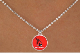 "<Br>                  LEAD & NICKEL FREE!!<Br>                OFFICIALLY LICENSED!!<bR> W20686N - BALL STATE UNIVERSITY <BR> ""CARDINALS"" LOGO NECKLACE<Br>           FROM $3.94 TO $8.75"
