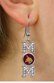 "<br>     WHOLESALE COLLEGE FASHION JEWELRY <bR>         CADMIUM, LEAD & NICKEL FREE!! <BR>   	   OFFICIAL COLLEGIATE JEWELRY!! <BR>     W20710E - SILVER TONE AND CRYSTAL <BR>TEXAS STATE UNIVERSITY BOBCATS ""MOM"" <BR>    EARRINGS FROM $3.94 TO $8.75 �2013"