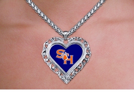 <br>  WHOLESALE SAM HOUSTON JEWELRY<Br>    OFFICIALLY LICENSED COLLEGE!! <Br>             LEAD & NICKEL FREE!! <Br>   W20719N - SAM HOUSTON UNIVERSITY <Br> ANTIQUED SILVER TONE HEART <Br>     NECKLACE FROM $5.63 TO $12.50