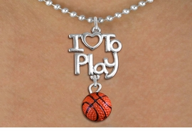 "<br>      WHOLESALE SPORTS FASHION NECKLACE <bR>                    EXCLUSIVELY OURS!!<BR>               AN ALLAN ROBIN DESIGN!!<BR>         CADMIUM, LEAD & NICKEL FREE!!<BR>     W20738N - BEAUTIFUL SILVER TONE <Br>""I LOVE TO PLAY"" & MINI BASKETBALL CHARM <BR>    NECKLACE FROM $4.64 TO $8.75 �2013"