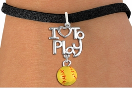 "<br>      WHOLESALE SPORTS FASHION BRACELET <bR>                    EXCLUSIVELY OURS!!<BR>               AN ALLAN ROBIN DESIGN!!<BR>         CADMIUM, LEAD & NICKEL FREE!!<BR>     W20742B - BEAUTIFUL SILVER TONE <Br>""I LOVE TO PLAY"" & MINI SOFTBALL CHARM <BR>    BRACELET FROM $4.64 TO $8.75 �2013"