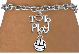 "<br>      WHOLESALE SPORTS FASHION BRACELET <bR>                    EXCLUSIVELY OURS!!<BR>               AN ALLAN ROBIN DESIGN!!<BR>         CADMIUM, LEAD & NICKEL FREE!!<BR>     W20746B - BEAUTIFUL SILVER TONE <Br>""I LOVE TO PLAY"" & MINI VOLLEYBALL CHARM <BR>    BRACELET FROM $4.64 TO $8.75 �2013"