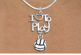 "<br>      WHOLESALE SPORTS FASHION NECKLACE <bR>                    EXCLUSIVELY OURS!!<BR>               AN ALLAN ROBIN DESIGN!!<BR>         CADMIUM, LEAD & NICKEL FREE!!<BR>     W20747N - BEAUTIFUL SILVER TONE <Br>""I LOVE TO PLAY"" & MINI VOLLEYBALL CHARM <BR>    NECKLACE FROM $4.64 TO $8.75 �2013"