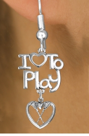 "<br>      WHOLESALE SPORTS FISH HOOK EARRINGS <bR>                    EXCLUSIVELY OURS!!<BR>               AN ALLAN ROBIN DESIGN!!<BR>         CADMIUM, LEAD & NICKEL FREE!!<BR>     W20749E - BEAUTIFUL SILVER TONE <Br>""I LOVE TO PLAY"" & LACROSSE HEART CHARM <BR>    EARRINGS FROM $6.23 TO $11.75 �2013"