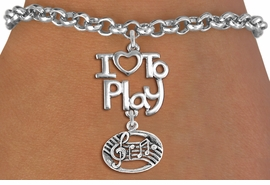 "<br>      WHOLESALE MUSIC FASHION BRACELET <bR>                    EXCLUSIVELY OURS!!<BR>               AN ALLAN ROBIN DESIGN!!<BR>         CADMIUM, LEAD & NICKEL FREE!!<BR>     W20754B - BEAUTIFUL SILVER TONE <Br>""I LOVE TO PLAY"" & MUSIC BAR CHARM <BR>    BRACELET FROM $4.64 TO $8.75 �2013"