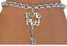 "<br>      WHOLESALE MUSIC FASHION BRACELET <bR>                    EXCLUSIVELY OURS!!<BR>               AN ALLAN ROBIN DESIGN!!<BR>         CADMIUM, LEAD & NICKEL FREE!!<BR>     W20760B - BEAUTIFUL SILVER TONE <Br>""I LOVE TO PLAY"" & ELECTRIC GUITAR CHARM <BR>    BRACELET FROM $4.64 TO $8.75 �2013"