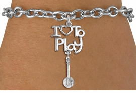 "<br>      WHOLESALE MUSIC FASHION BRACELET <bR>                    EXCLUSIVELY OURS!!<BR>               AN ALLAN ROBIN DESIGN!!<BR>         CADMIUM, LEAD & NICKEL FREE!!<BR>     W20766B - BEAUTIFUL SILVER TONE <Br>""I LOVE TO PLAY"" & DETAILED BANJO CHARM <BR>    BRACELET FROM $4.64 TO $8.75 �2013"