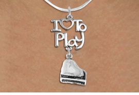 "<br>      WHOLESALE MUSIC FASHION NECKLACE <bR>                    EXCLUSIVELY OURS!!<BR>               AN ALLAN ROBIN DESIGN!!<BR>         CADMIUM, LEAD & NICKEL FREE!!<BR>     W20771N - BEAUTIFUL SILVER TONE <Br>""I LOVE TO PLAY"" & DETAILED PIANO CHARM <BR>    NECKLACE FROM $4.64 TO $8.75 �2013"