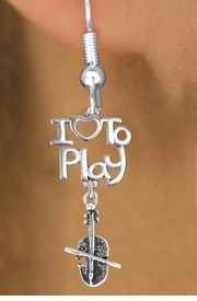 "<br>      WHOLESALE MUSIC FISH HOOK EARRINGS <bR>                    EXCLUSIVELY OURS!!<BR>               AN ALLAN ROBIN DESIGN!!<BR>         CADMIUM, LEAD & NICKEL FREE!!<BR>     W20773E - BEAUTIFUL SILVER TONE <Br>""I LOVE TO PLAY"" & VIOLIN CHARM <BR>    EARRINGS FROM $6.23 TO $11.75 �2013"