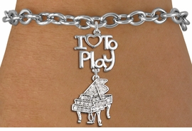 "<br>      WHOLESALE MUSIC FASHION BRACELET <bR>                    EXCLUSIVELY OURS!!<BR>               AN ALLAN ROBIN DESIGN!!<BR>         CADMIUM, LEAD & NICKEL FREE!!<BR>     W20775B - BEAUTIFUL SILVER TONE <Br>""I LOVE TO PLAY"" & CRYSTAL PIANO CHARM <BR>    BRACELET FROM $5.70 TO $10.75 �2013"