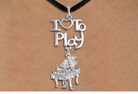 "<br>      WHOLESALE MUSIC FASHION NECKLACE <bR>                    EXCLUSIVELY OURS!!<BR>               AN ALLAN ROBIN DESIGN!!<BR>         CADMIUM, LEAD & NICKEL FREE!!<BR>     W20777N - BEAUTIFUL SILVER TONE <Br>""I LOVE TO PLAY"" & CRYSTAL GRAND PIANO CHARM <BR>    NECKLACE FROM $5.70 TO $10.75 �2013"
