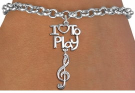 "<br>      WHOLESALE MUSIC FASHION BRACELET <bR>                    EXCLUSIVELY OURS!!<BR>               AN ALLAN ROBIN DESIGN!!<BR>         CADMIUM, LEAD & NICKEL FREE!!<BR>     W20778B - BEAUTIFUL SILVER TONE <Br>""I LOVE TO PLAY"" & CRYSTAL TREBLE CLEF CHARM <BR>    BRACELET FROM $5.70 TO $10.75 �2013"