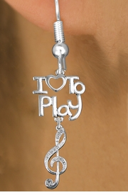 "<br>      WHOLESALE MUSIC FISH HOOK EARRINGS <bR>                    EXCLUSIVELY OURS!!<BR>               AN ALLAN ROBIN DESIGN!!<BR>         CADMIUM, LEAD & NICKEL FREE!!<BR>     W20779E - BEAUTIFUL SILVER TONE <Br>""I LOVE TO PLAY"" & CRYSTAL TREBLE CLEF <BR>CHARM EARRINGS FROM $8.61 TO $16.25 �2013"