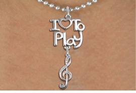 "<br>      WHOLESALE MUSIC FASHION NECKLACE <bR>                    EXCLUSIVELY OURS!!<BR>               AN ALLAN ROBIN DESIGN!!<BR>         CADMIUM, LEAD & NICKEL FREE!!<BR>     W20780N - BEAUTIFUL SILVER TONE <Br>""I LOVE TO PLAY"" & CRYSTAL TREBLE CLEF <BR>CHARM NECKLACE FROM $5.70 TO $10.75 �2013"