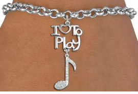 "<br>      WHOLESALE MUSIC FASHION BRACELET <bR>                    EXCLUSIVELY OURS!!<BR>               AN ALLAN ROBIN DESIGN!!<BR>         CADMIUM, LEAD & NICKEL FREE!!<BR>     W20781B - BEAUTIFUL SILVER TONE <Br>""I LOVE TO PLAY"" & CRYSTAL MUSIC NOTE CHARM <BR>    BRACELET FROM $5.70 TO $10.75 �2013"