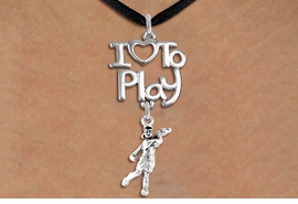 "<br>      WHOLESALE SPORTS FASHION NECKLACE <bR>                    EXCLUSIVELY OURS!!<BR>               AN ALLAN ROBIN DESIGN!!<BR>         CADMIUM, LEAD & NICKEL FREE!!<BR>     W20786N - BEAUTIFUL SILVER TONE <Br>""I LOVE TO PLAY"" & DETAILED LADY GOLFER <BR>CHARM NECKLACE FROM $4.64 TO $8.75 �2013"
