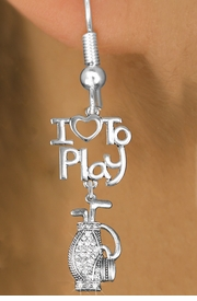 "<br>      WHOLESALE FISH HOOK SPORT EARRINGS <bR>                    EXCLUSIVELY OURS!!<BR>               AN ALLAN ROBIN DESIGN!!<BR>         CADMIUM, LEAD & NICKEL FREE!!<BR>     W20788E - BEAUTIFUL SILVER TONE <Br>""I LOVE TO PLAY"" & CRYSTAL GOLF BAG <BR>CHARM EARRINGS FROM $8.61 TO $16.25 �2013"
