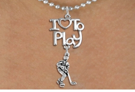 "<br>      WHOLESALE SPORTS FASHION NECKLACE <bR>                    EXCLUSIVELY OURS!!<BR>               AN ALLAN ROBIN DESIGN!!<BR>         CADMIUM, LEAD & NICKEL FREE!!<BR>     W20792N - BEAUTIFUL SILVER TONE <Br>""I LOVE TO PLAY"" & DETAILED HOCKEY PLAYER <BR>CHARM NECKLACE FROM $4.64 TO $8.75 �2013"
