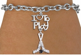 "<br>      WHOLESALE HOCKEY SPORTS BRACELET <bR>                    EXCLUSIVELY OURS!!<BR>               AN ALLAN ROBIN DESIGN!!<BR>         CADMIUM, LEAD & NICKEL FREE!!<BR>     W20793B - BEAUTIFUL SILVER TONE <Br>""I LOVE TO PLAY"" & CRYSTAL HOCKEY STICKS <BR>CHARM BRACELET FROM $5.70 TO $10.75 �2013"