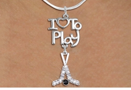 "<br>      WHOLESALE SPORTS FASHION NECKLACE <bR>                    EXCLUSIVELY OURS!!<BR>               AN ALLAN ROBIN DESIGN!!<BR>         CADMIUM, LEAD & NICKEL FREE!!<BR>     W20795N - BEAUTIFUL SILVER TONE <Br>""I LOVE TO PLAY"" & CRYSTAL HOCKEY STICKS <BR>CHARM NECKLACE FROM $5.70 TO $10.75 �2013"