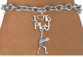 "<br>      WHOLESALE TENNIS SPORTS BRACELET <bR>                    EXCLUSIVELY OURS!!<BR>               AN ALLAN ROBIN DESIGN!!<BR>         CADMIUM, LEAD & NICKEL FREE!!<BR>     W20796B - BEAUTIFUL SILVER TONE <Br>""I LOVE TO PLAY"" & DETAILED TENNIS PLAYER <BR>CHARM BRACELET FROM $4.64 TO $8.75 �2013"