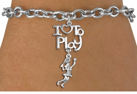 "<br>      WHOLESALE TENNIS SPORTS BRACELET <bR>                    EXCLUSIVELY OURS!!<BR>               AN ALLAN ROBIN DESIGN!!<BR>         CADMIUM, LEAD & NICKEL FREE!!<BR>     W20799B - BEAUTIFUL SILVER TONE <Br>""I LOVE TO PLAY"" & DETAILED TENNIS PLAYER <BR>CHARM BRACELET FROM $4.64 TO $8.75 �2013"