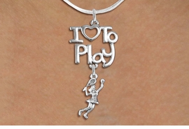 "<br>      WHOLESALE SPORTS FASHION NECKLACE <bR>                    EXCLUSIVELY OURS!!<BR>               AN ALLAN ROBIN DESIGN!!<BR>         CADMIUM, LEAD & NICKEL FREE!!<BR>     W20801N - BEAUTIFUL SILVER TONE <Br>""I LOVE TO PLAY"" & DETAILED LADY TENNIS PLAYER <BR>CHARM NECKLACE FROM $4.64 TO $8.75 �2013"