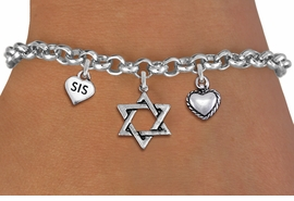 "<BR> WHOLESALE JEWISH CHARM BRACELETS <bR>               EXCLUSIVELY OURS!!<BR>         AN ALLAN ROBIN DESIGN!!<BR>            LEAD & NICKEL FREE!! <BR>W20844B - JEWISH BAS MITZVAH <BR> ""SIS"" HEART, STAR OF DAVID AND HEART CHARM <BR>BRACELET FROM $5.63 TO $12.50 �2013"