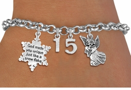 "<BR> WHOLESALE 15TH BIRTHDAY BRACELET <bR>                EXCLUSIVELY OURS!!<Br>               LEAD & NICKEL FREE!!<BR>W20845B - QUINCEAÑERA 15 THEMED <Br>SILVER TONE CHARM BRACELET WITH <BR>""GOD MADE YOU UNIQUE"" SNOWFLAKE AND <BR>ANTIQUED GUARDIAN ANGEL CHARMS <BR>       FROM $5.63 TO $12.50 ©2013"
