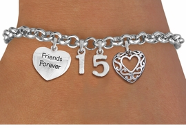 "<BR> WHOLESALE 15TH BIRTHDAY BRACELET <bR>                EXCLUSIVELY OURS!!<Br>               LEAD & NICKEL FREE!!<BR>W20846B - QUINCEAÑERA 15 THEMED <Br>SILVER TONE CHARM BRACELET WITH <BR>""FRIENDS FOREVER"" HEART AND <BR>ANTIQUED SCRIPT HEART CHARMS <BR>       FROM $5.63 TO $12.50 ©2013"