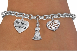 "<BR> WHOLESALE 15TH BIRTHDAY BRACELET <bR>                EXCLUSIVELY OURS!!<Br>               LEAD & NICKEL FREE!!<BR>W20847B - QUINCEAÑERA 15 THEMED <Br>SILVER TONE CHARM BRACELET WITH <BR>""MOST BEAUTIFUL"" HEART, QUINCEANERA GIRL <BR>AND ANTIQUED SCRIPT HEART CHARMS <BR>       FROM $5.63 TO $12.50 ©2013"