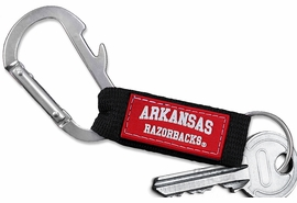 "<bR> WHOLESALE SCHOOL TEAM KEYCHAIN <BR>     OFFICIAL COLLEGIATE LICENSED!! <br>             LEAD & NICKEL FREE!!! <br>W20880KC - UNIVERSITY OF ARKANSAS <BR>""RAZORBACKS"" CARABINER WITH BOTTLE OPENER <BR>  AND KEY CHAIN FOR ONLY $1.68"