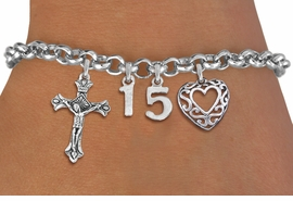 <BR> WHOLESALE 15TH BIRTHDAY BRACELET <bR>                EXCLUSIVELY OURS!!<Br>               LEAD & NICKEL FREE!!<BR>W20898B - QUINCEAÑERA 15 THEMED <Br>SILVER TONE CHARM BRACELET WITH <BR>DETAILED CRUCIFIX CHARM AND <BR>BEAUTIFUL SCRIPT HEART CHARM <BR>       FROM $5.63 TO $12.50 ©2013