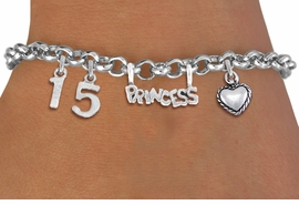 "<BR> WHOLESALE 15TH BIRTHDAY BRACELET <bR>                EXCLUSIVELY OURS!!<Br>               LEAD & NICKEL FREE!!<BR>W20900B - QUINCEAÑERA 15 THEMED <Br>SILVER TONE CHARM BRACELET WITH <BR>""PRINCESS"" CHARM AND <BR>BEAUTIFUL HEART CHARM <BR>       FROM $5.63 TO $12.50 ©2013"