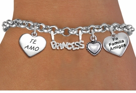 "<BR> WHOLESALE 15TH BIRTHDAY BRACELET <bR>                EXCLUSIVELY OURS!!<Br>               LEAD & NICKEL FREE!!<BR>W20902B - QUINCEAÑERA 15 THEMED <Br>SILVER TONE CHARM BRACELET WITH <BR>""TE AMO"", ""FE, FAMILIA, AMIGOS"" <BR>HEARTS AND ""PRINCESS"" CHARM <BR>       FROM $5.63 TO $12.50 ©2013"