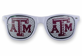 <BR>OFFICIALLY LICENSED COLLEGE SHADES!! <BR>W20915SG - THE TEXAS A&M UNIVERSITY <Br> LOGO WHITE SUNGLASSES <br>      YOURS FOR $7.35 EACH �2013