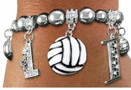 <BR> WHOLESALE SPORTS FASHION JEWELRY <Br>               LEAD & NICKEL FREE!! <BR> W20989B - DETAILED POLISHED SILVER <BR> TONE VOLLEYBALL THEMED, MULTI-CRYSTAL <Br> CHARMED STRETCH BRACELET <BR>         FROM $7.31 TO $16.25 �2013
