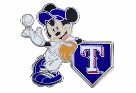 <Br> MAJOR LEAGUE BASEBALL LAPEL PIN  <br> OFFICIALLY LICENSED DISNEY AND MLB ITEM!! <BR>               LEAD & NICKEL FREE!! <Br> W21003P - SILVER TONE TEXAS RANGERS <Br>AND MICKEY MOUSE LOGO LAPEL PIN <Br>          FROM $3.99